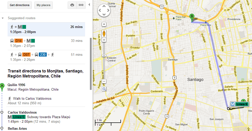 Google maps y viaje en Transantiago